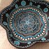 hand painted wooden trinket dish blues