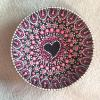 hand painted wooden bowl  pink heart